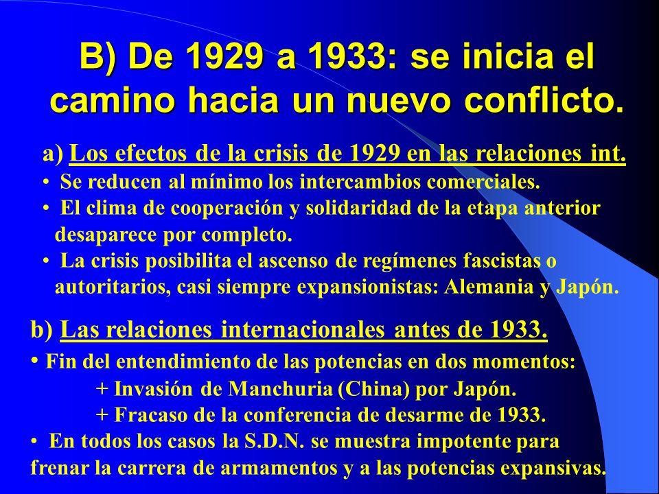 B) De 1929 a 1933: se inicia el camino hacia un nuevo conflicto. a) Los efectos de la crisis de 1929 en las relaciones int. Se reducen al mínimo los i