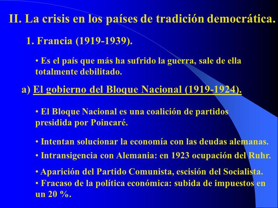 1. Francia (1919-1939). II. La crisis en los países de tradición democrática. Es el país que más ha sufrido la guerra, sale de ella totalmente debilit