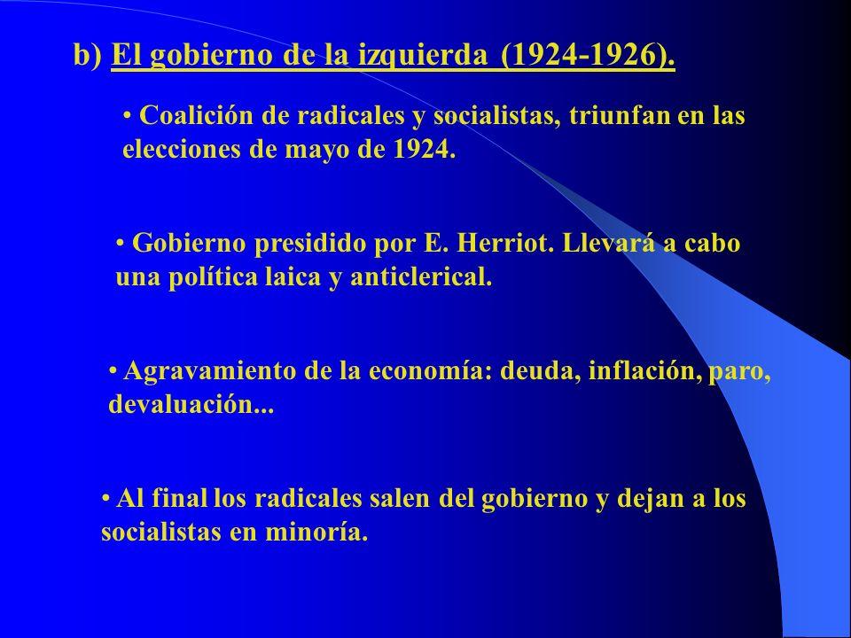 b) El gobierno de la izquierda (1924-1926). Coalición de radicales y socialistas, triunfan en las elecciones de mayo de 1924. Gobierno presidido por E