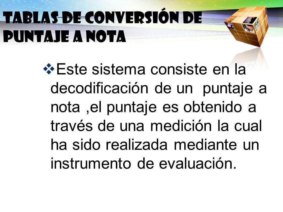 Este sistema consiste en la decodificación de un puntaje a nota,el puntaje es obtenido a través de una medición la cual ha sido realizada mediante un
