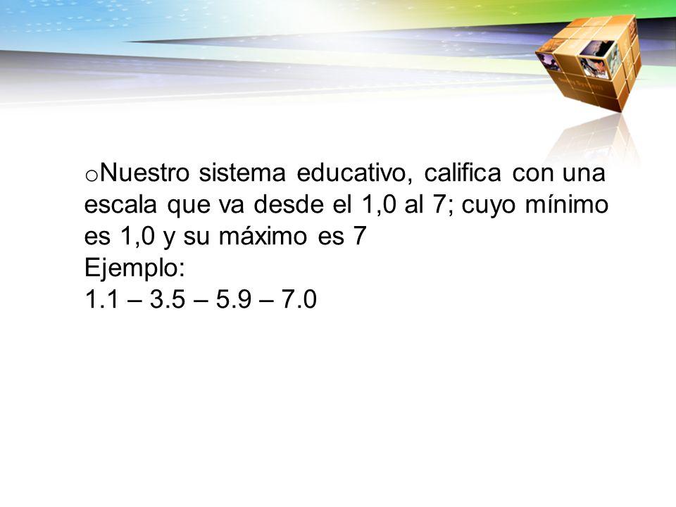 o Nuestro sistema educativo, califica con una escala que va desde el 1,0 al 7; cuyo mínimo es 1,0 y su máximo es 7 Ejemplo: 1.1 – 3.5 – 5.9 – 7.0