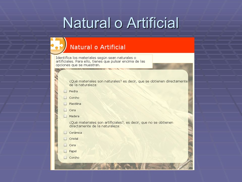 Natural o Artificial