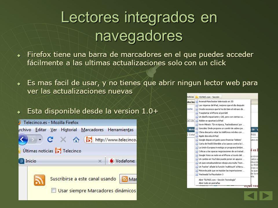 Lectores integrados en navegadores Firefox tiene una barra de marcadores en el que puedes acceder fácilmente a las ultimas actualizaciones solo con un