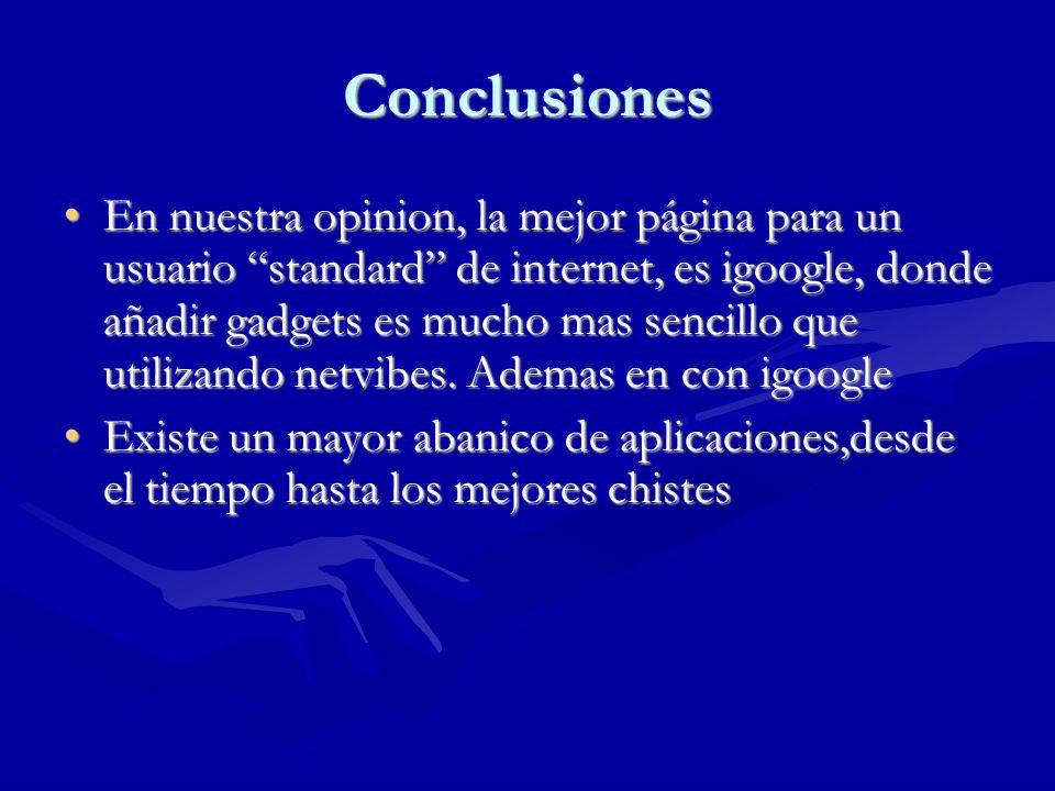 Conclusiones En nuestra opinion, la mejor página para un usuario standard de internet, es igoogle, donde añadir gadgets es mucho mas sencillo que utilizando netvibes.