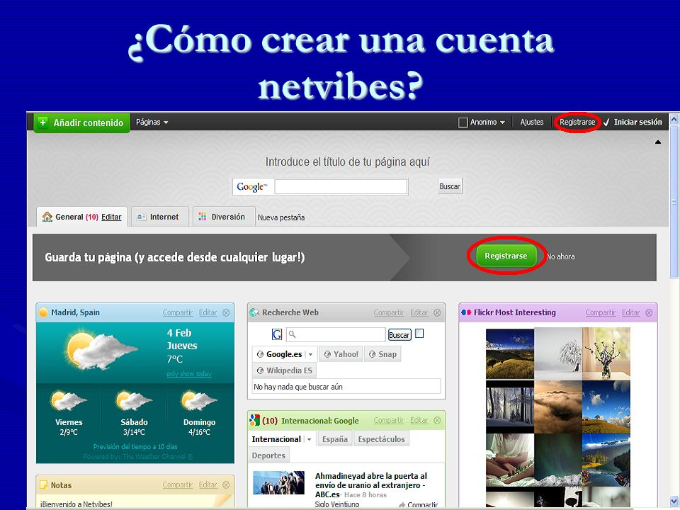 ¿Cómo crear una cuenta netvibes