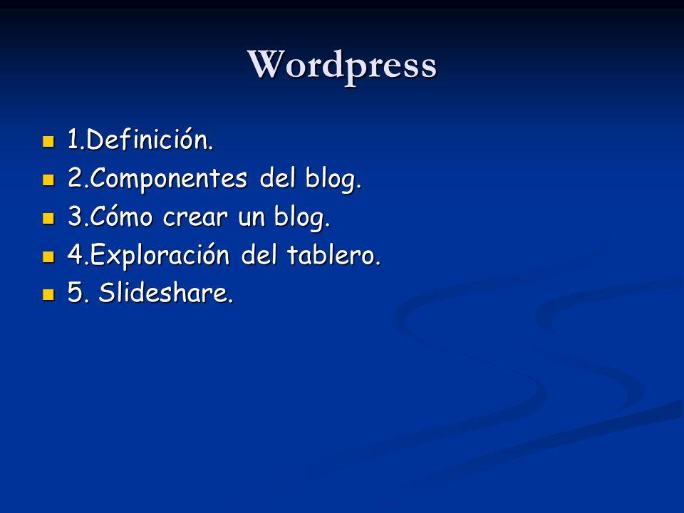 Wordpress 1.Definición. 1.Definición. 2.Componentes del blog. 2.Componentes del blog. 3.Cómo crear un blog. 3.Cómo crear un blog. 4.Exploración del ta
