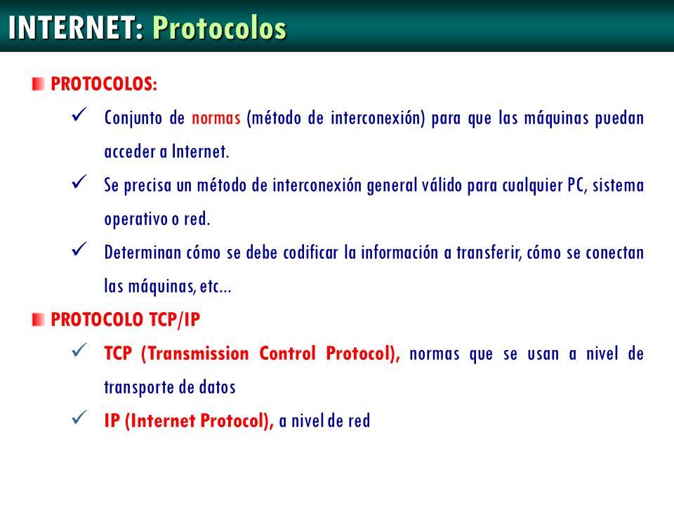 INTERNET: Protocolos PROTOCOLOS: Conjunto de normas (método de interconexión) para que las máquinas puedan acceder a Internet. Se precisa un método de