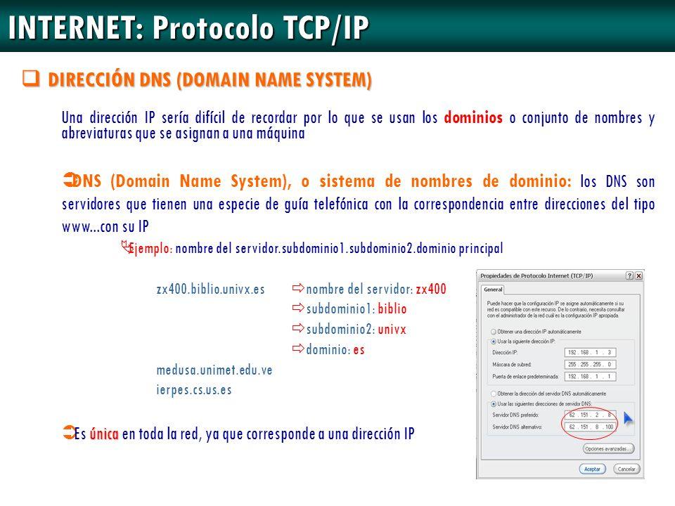 DIRECCIÓN DNS (DOMAIN NAME SYSTEM) Una dirección IP sería difícil de recordar por lo que se usan los dominios o conjunto de nombres y abreviaturas que
