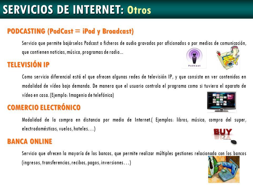 SERVICIOS DE INTERNET: Otros PODCASTING (PodCast = iPod y Broadcast) Servicio que permite bajárselos Podcast o ficheros de audio gravados por aficiona