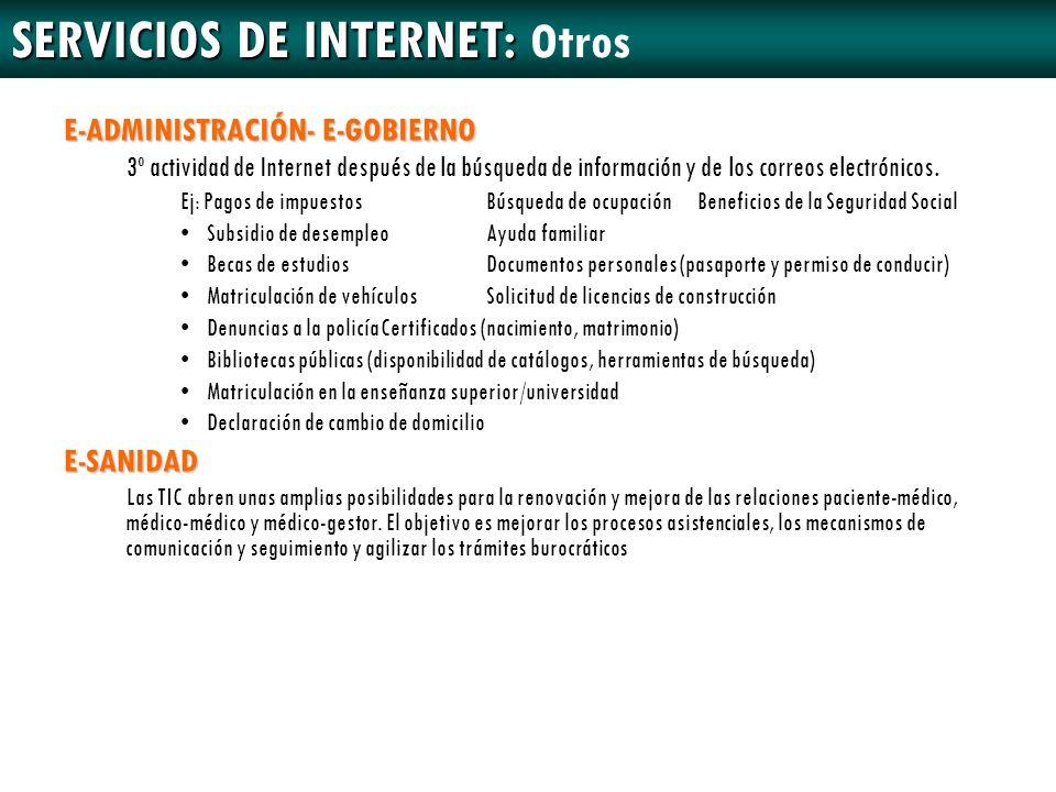 SERVICIOS DE INTERNET: SERVICIOS DE INTERNET: Otros E-ADMINISTRACIÓN- E-GOBIERNO 3º actividad de Internet después de la búsqueda de información y de l