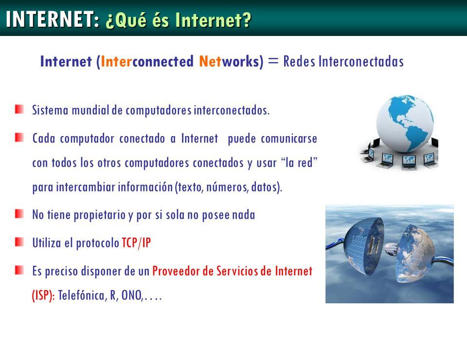 INTERNET: ¿Qué és Internet? Sistema mundial de computadores interconectados. Cada computador conectado a Internet puede comunicarse con todos los otro