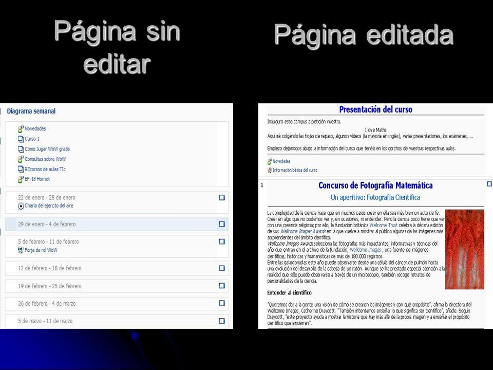 Edición en educastur campus La página se puede editar, obviamente hace falta ser administrados aunque para conseguir un look aparentemente sencillo y