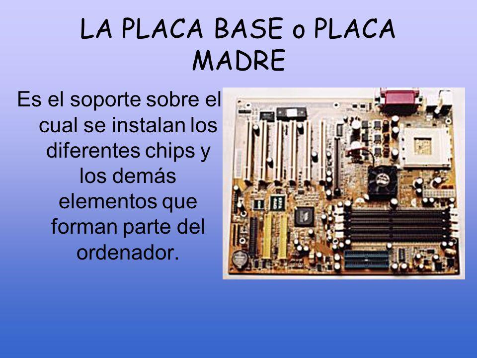 LA PLACA BASE Chipset BIOS Zócalo microprocesador RAM Batería Ranuras de expansión Puertos CONECTORES ALMACENAMIENTO