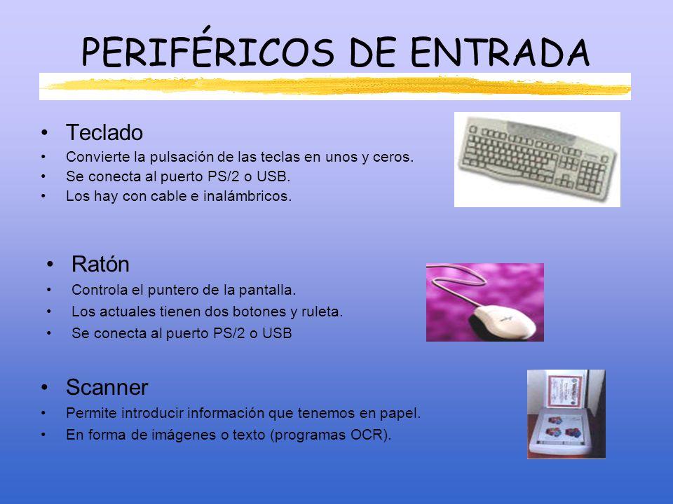 PERIFÉRICOS DE ENTRADA Micrófono Se conecta a la tarjeta de sonido o a la placa base.