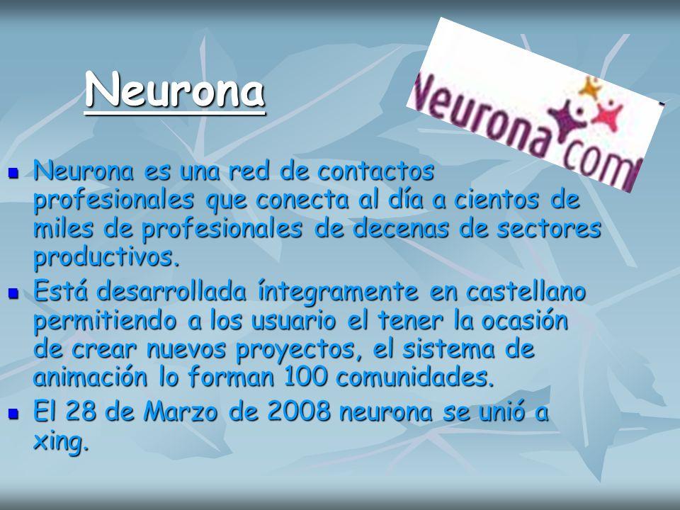 Neurona Neurona es una red de contactos profesionales que conecta al día a cientos de miles de profesionales de decenas de sectores productivos. Neuro