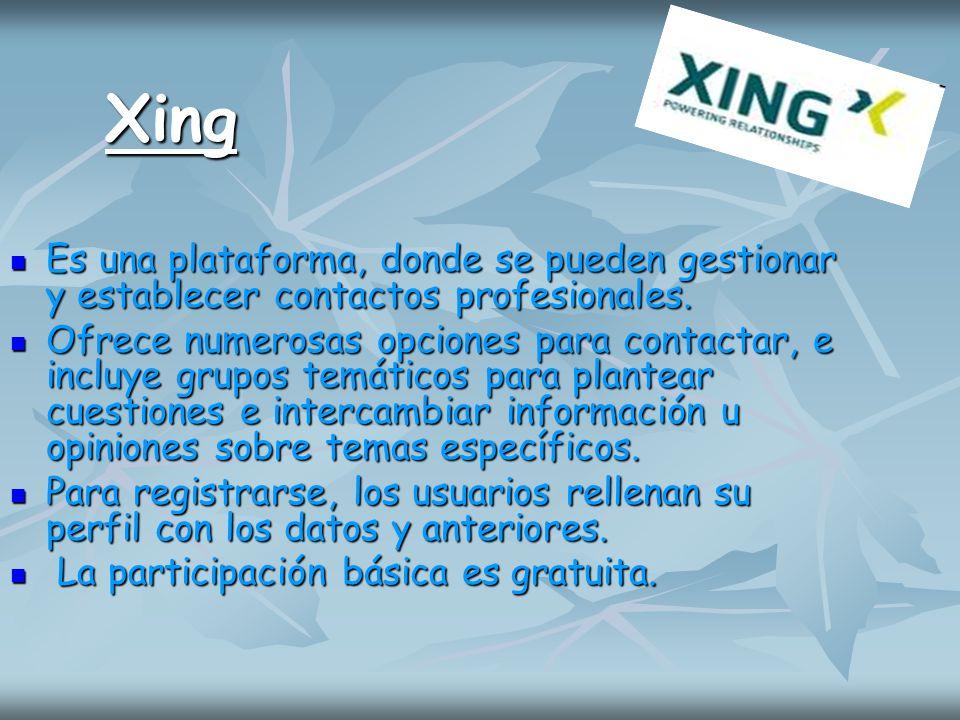 Xing Es una plataforma, donde se pueden gestionar y establecer contactos profesionales. Es una plataforma, donde se pueden gestionar y establecer cont