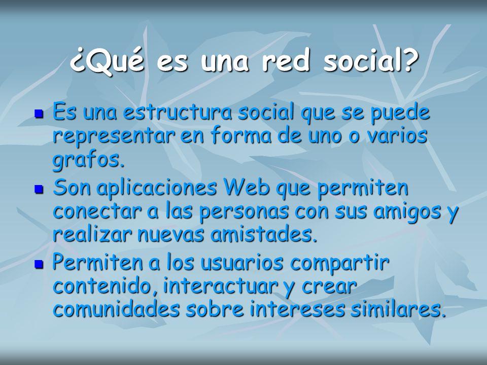 ¿Qué es una red social? Es una estructura social que se puede representar en forma de uno o varios grafos. Es una estructura social que se puede repre