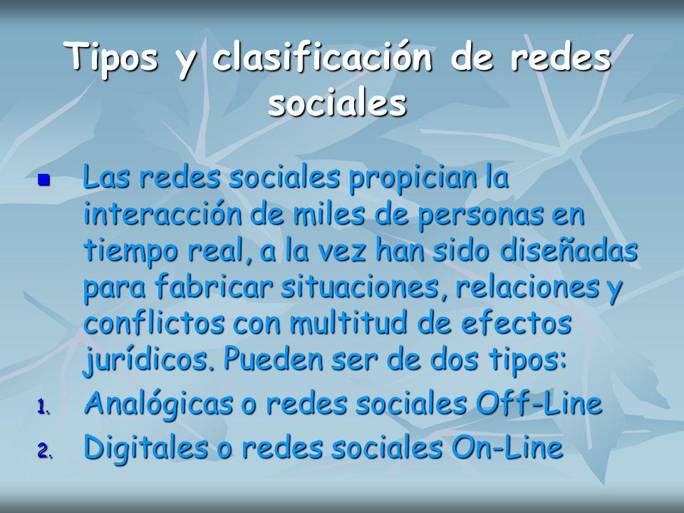 Tipos y clasificación de redes sociales Las redes sociales propician la interacción de miles de personas en tiempo real, a la vez han sido diseñadas p