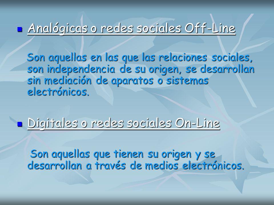 Analógicas o redes sociales Off-Line Analógicas o redes sociales Off-Line Son aquellas en las que las relaciones sociales, son independencia de su ori