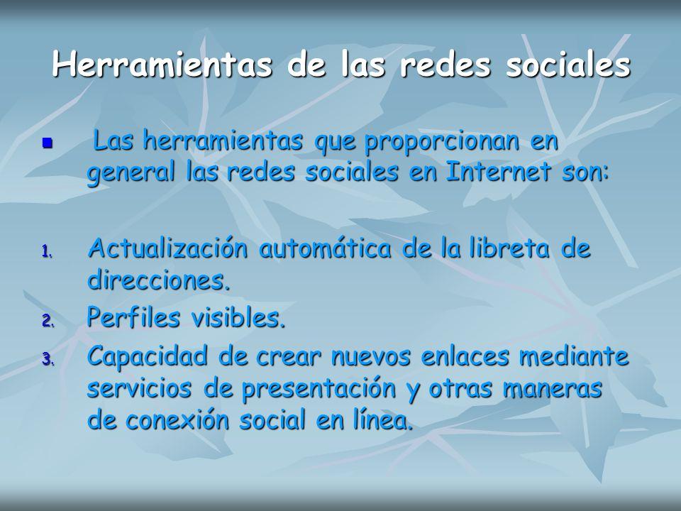 Herramientas de las redes sociales Las herramientas que proporcionan en general las redes sociales en Internet son: Las herramientas que proporcionan