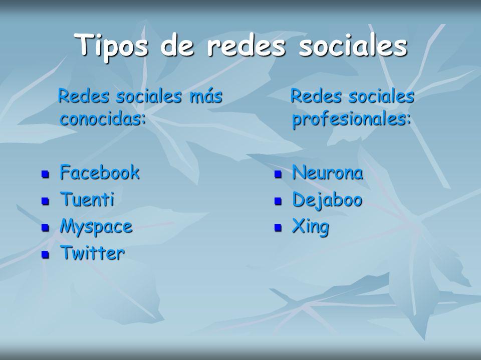 Tipos de redes sociales Redes sociales más conocidas: Facebook Tuenti Myspace Twitter Redes sociales profesionales: Neurona Dejaboo Xing