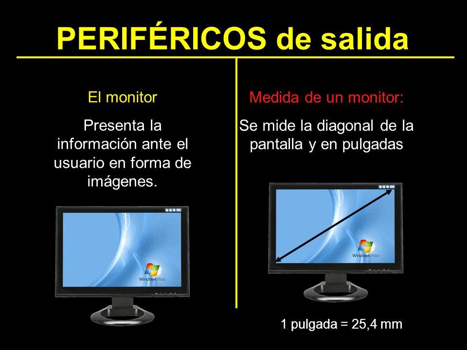 PERIFÉRICOS de salida Medida de un monitor: Se mide la diagonal de la pantalla y en pulgadas 1 pulgada = 25,4 mm El monitor Presenta la información an
