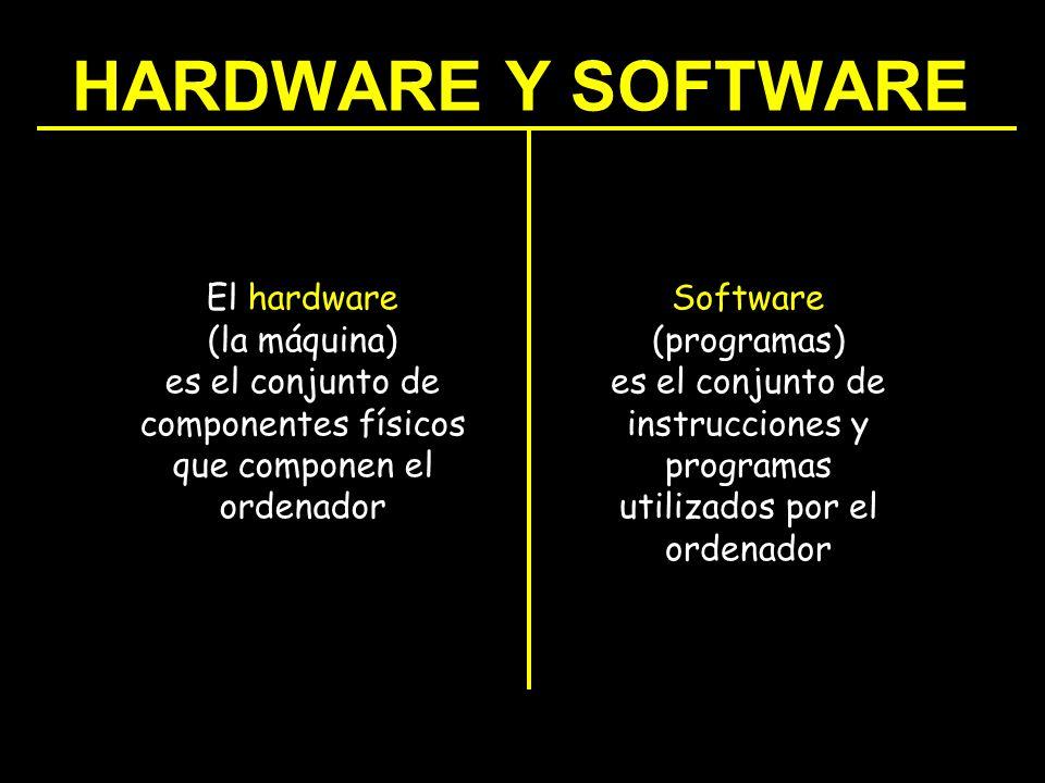 HARDWARE Y SOFTWARE El hardware (la máquina) es el conjunto de componentes físicos que componen el ordenador Software (programas) es el conjunto de in