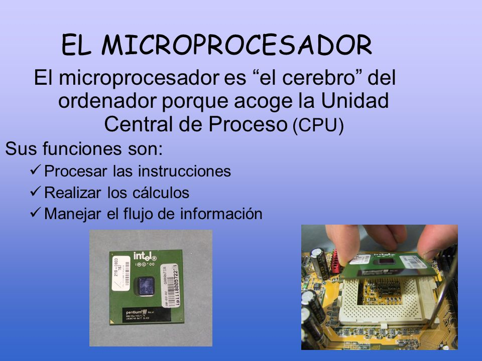 EL MICROPROCESADOR El microprocesador es el cerebro del ordenador porque acoge la Unidad Central de Proceso (CPU) Sus funciones son: Procesar las inst