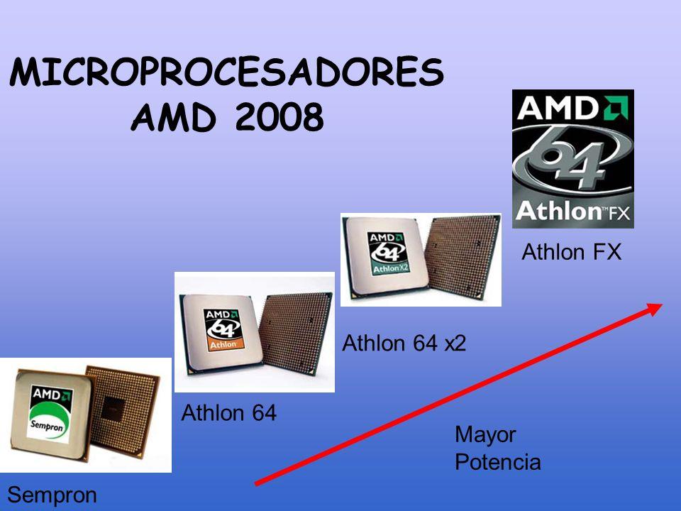 MICROPROCESADORES AMD 2008 Sempron Athlon 64 Athlon 64 x2 Athlon FX Mayor Potencia