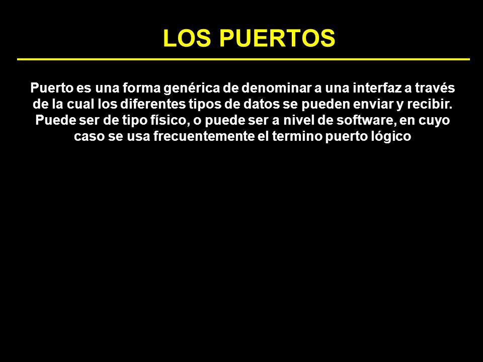 LOS PUERTOS Puerto es una forma genérica de denominar a una interfaz a través de la cual los diferentes tipos de datos se pueden enviar y recibir. Pue