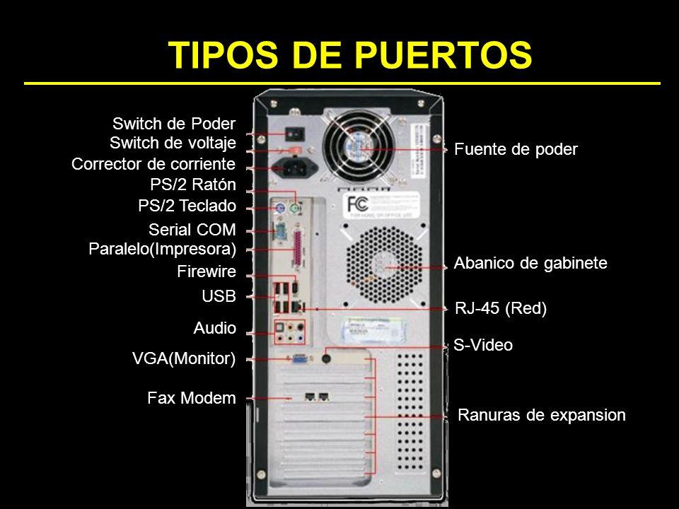 TIPOS DE PUERTOS Ranuras de expansion S-Video RJ-45 (Red) Abanico de gabinete Fuente de poder Fax Modem VGA(Monitor) Audio USB Firewire Paralelo(Impre