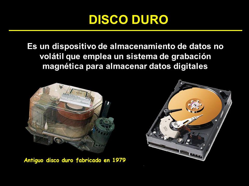 Es un dispositivo de almacenamiento de datos no volátil que emplea un sistema de grabación magnética para almacenar datos digitales DISCO DURO Antiguo
