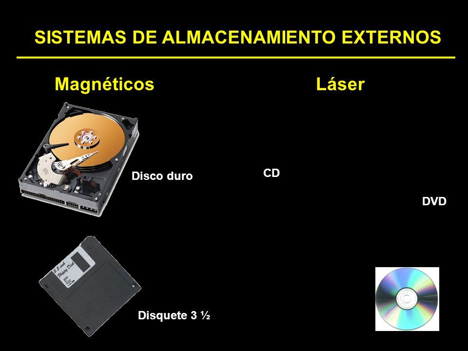 SISTEMAS DE ALMACENAMIENTO EXTERNOS Disquete 3 ½ MagnéticosLáser Disco duro CD DVD