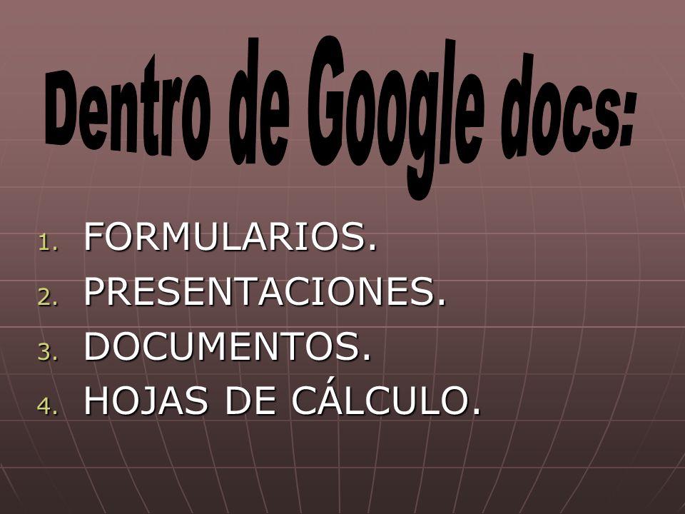 1. FORMULARIOS. 2. PRESENTACIONES. 3. DOCUMENTOS. 4. HOJAS DE CÁLCULO.