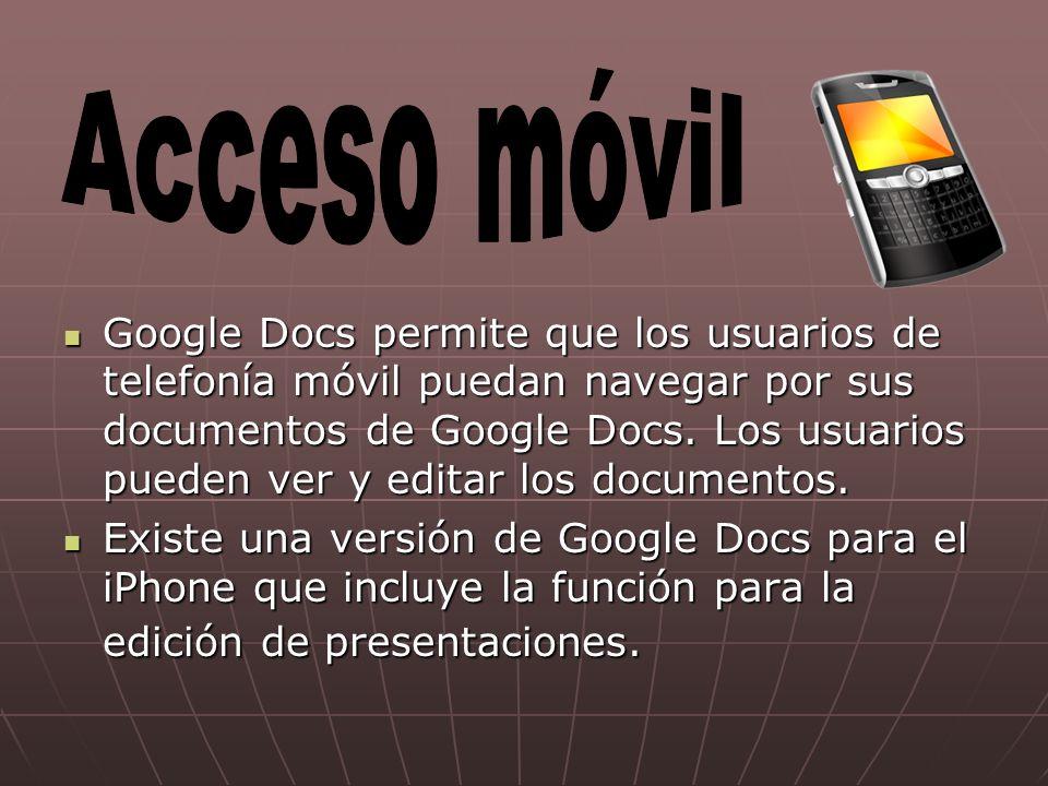 Google Docs permite que los usuarios de telefonía móvil puedan navegar por sus documentos de Google Docs.