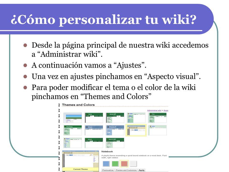 ¿Cómo personalizar tu wiki? Desde la página principal de nuestra wiki accedemos a Administrar wiki. A continuación vamos a Ajustes. Una vez en ajustes