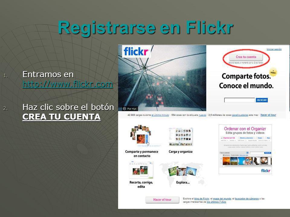 Registrarse en Flickr 1. Entramos en http://www.flickr.com http://www.flickr.com 2.