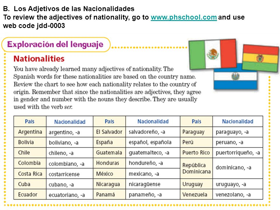 B. Los Adjetivos de las Nacionalidades To review the adjectives of nationality, go to www.phschool.com and usewww.phschool.com web code jdd-0003