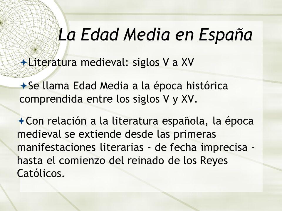 La Edad Media en España Literatura medieval: siglos V a XV Se llama Edad Media a la época histórica comprendida entre los siglos V y XV. Con relación
