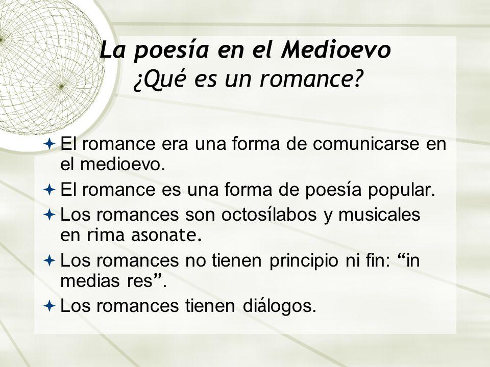 La poesía en el Medioevo ¿Qué es un romance? El romance era una forma de comunicarse en el medioevo. El romance es una forma de poes í a popular. Los