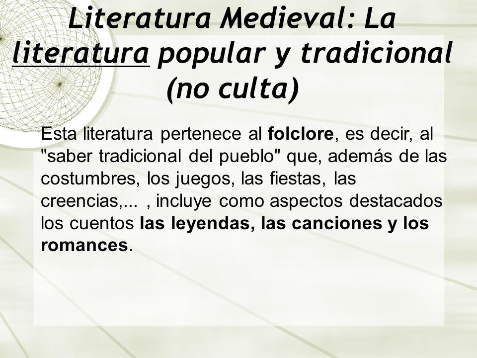 Literatura Medieval: La literatura popular y tradicional (no culta) Esta literatura pertenece al folclore, es decir, al