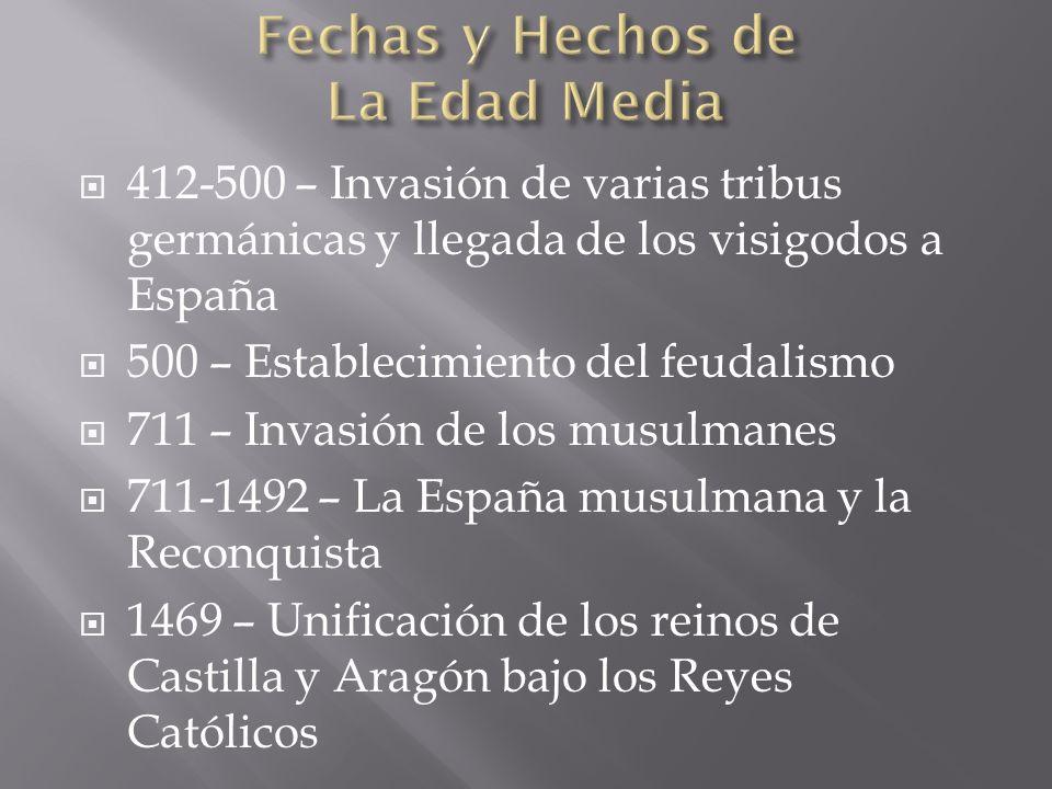 412-500 – Invasión de varias tribus germánicas y llegada de los visigodos a España 500 – Establecimiento del feudalismo 711 – Invasión de los musulman