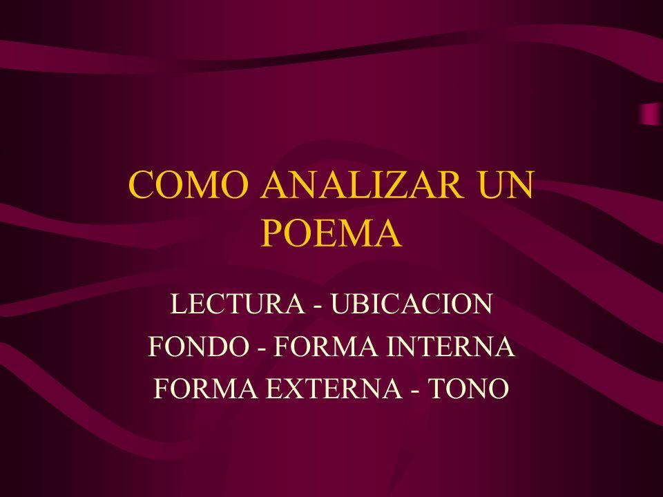 COMO ANALIZAR UN POEMA LECTURA - UBICACION FONDO - FORMA INTERNA FORMA EXTERNA - TONO