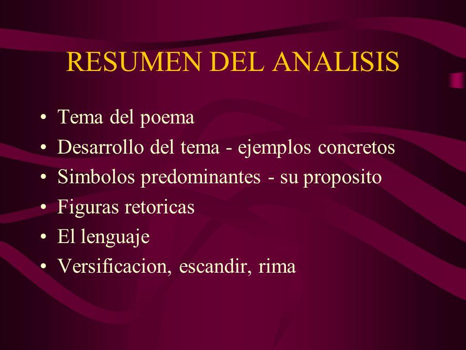 RESUMEN DEL ANALISIS Tema del poema Desarrollo del tema - ejemplos concretos Simbolos predominantes - su proposito Figuras retoricas El lenguaje Versi