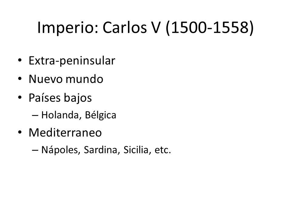 Imperio: Carlos V (1500-1558) Extra-peninsular Nuevo mundo Países bajos – Holanda, Bélgica Mediterraneo – Nápoles, Sardina, Sicilia, etc.