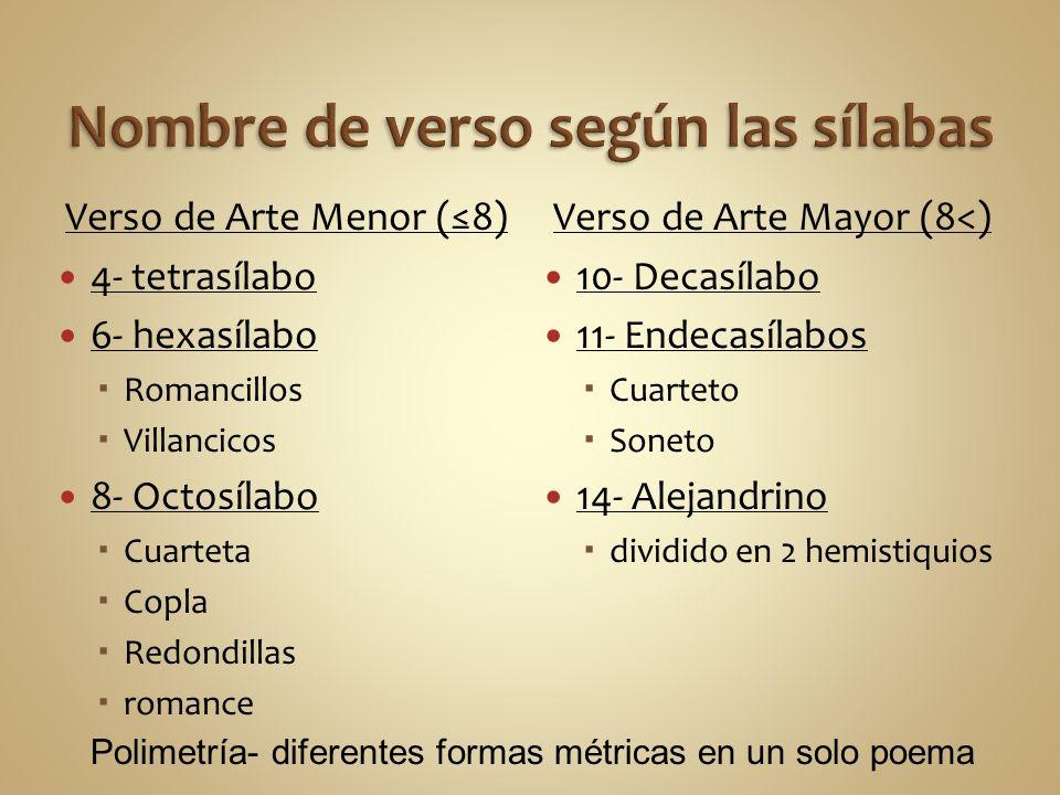 Verso de Arte Menor (8) 4- tetrasílabo 6- hexasílabo Romancillos Villancicos 8- Octosílabo Cuarteta Copla Redondillas romance Verso de Arte Mayor (8<)
