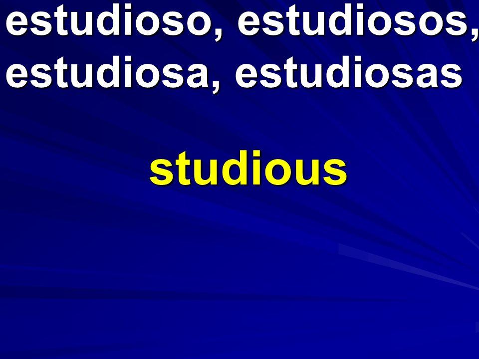 estudioso, estudiosos, estudiosa, estudiosas studious