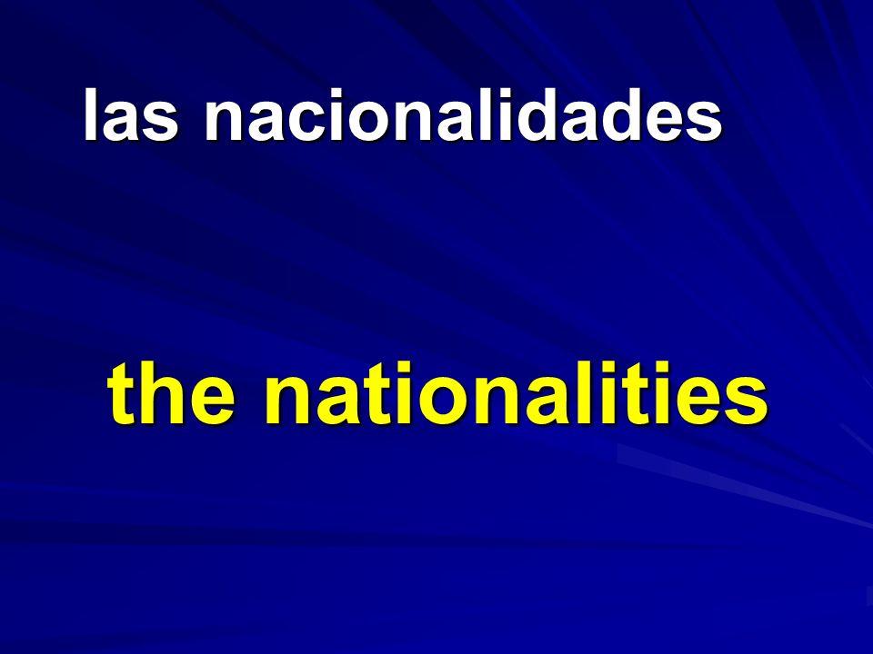 las nacionalidades las nacionalidades the nationalities