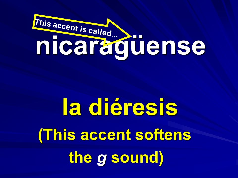 nicaragüense nicaragüense la diéresis (This accent softens the g sound) This accent is called …