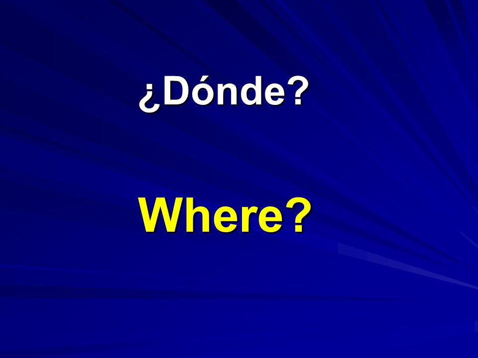 ¿Dónde? ¿Dónde? Where?